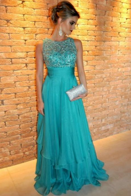 2016 Evening Dresses Turquoise Chiffon Sleeveless Long Formal Dress Crystals Floor Length Free Ship O Neck robe de soiree long