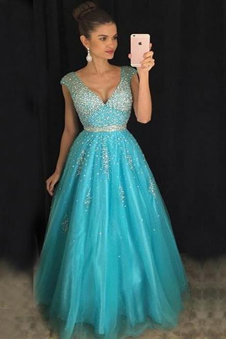 2016 Elegant V-Neck Beadings Long A-Line Tulle Evening Dresses Sexy V Neck Elegant Party Prom Gown Open Back Ice Blue Tulle